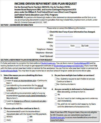 Sample Income Based Repayment Form - 8+ Free Documents In Word, Pdf