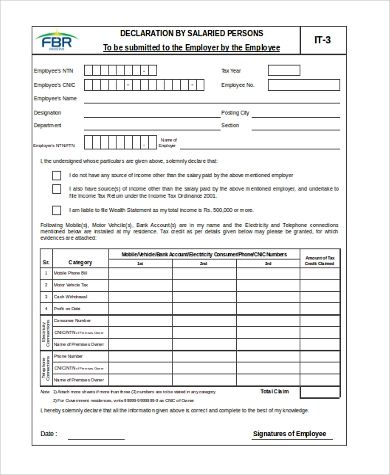 income tax form for salaried employee