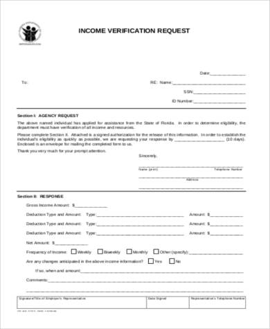 income verification request form1