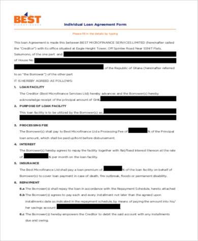 individual loan agreement form