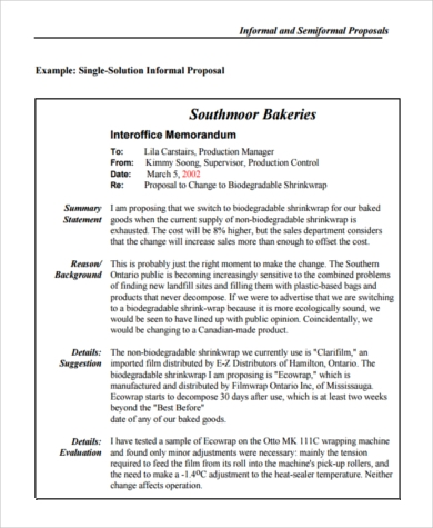 informal business proposal sample
