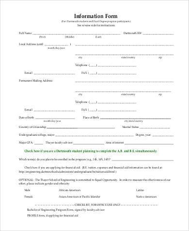 information form example