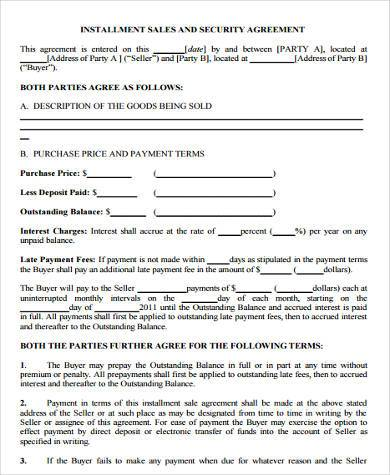 Sample Installment Agreement Forms   Free Documents In Word Pdf
