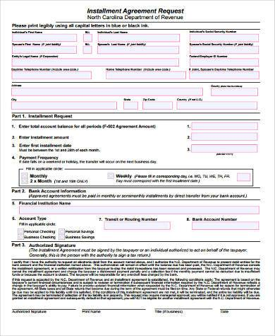 installment agreement form in word format