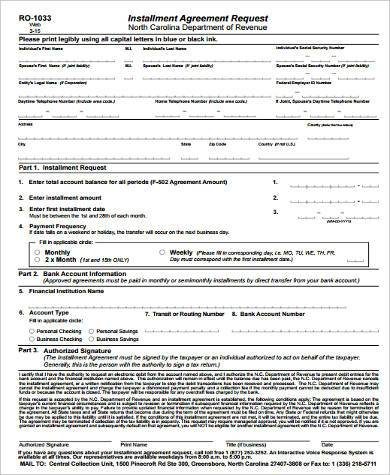 installment contract request form in pdf