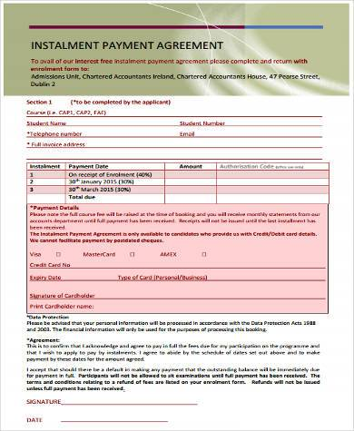 installment payment contract form1