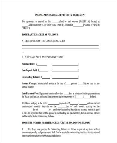 Installment Agreement Form Samples   Free Documents In Word Pdf