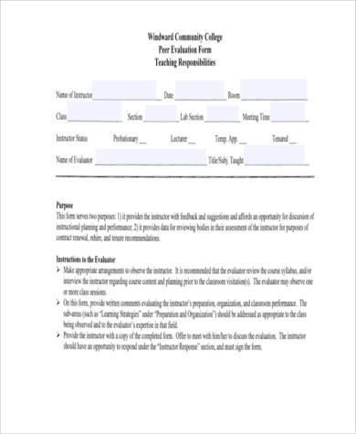 instructor peer evaluation form