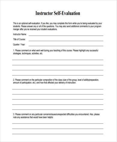 instructor self evaluation form