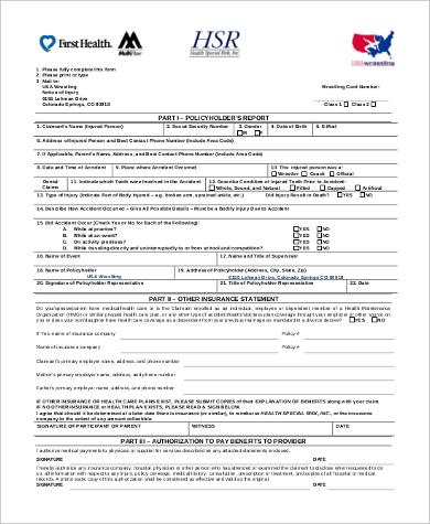 insurance claim form sample