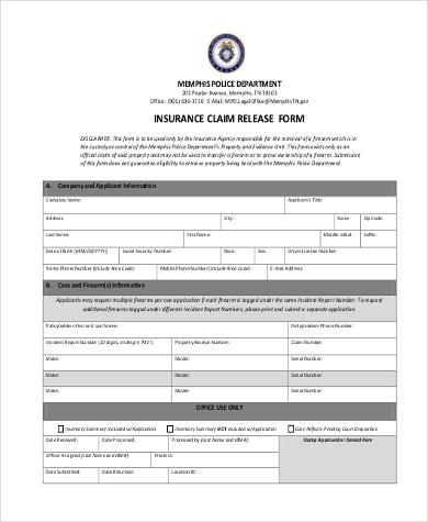 insurance claim release form