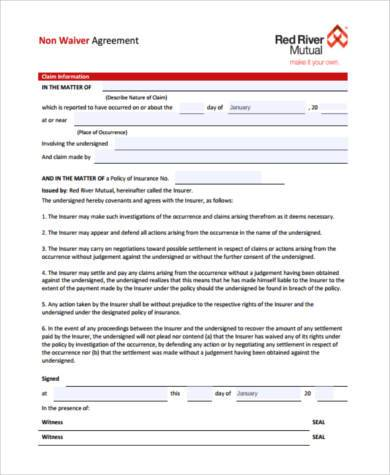 Free 8 Sample Insurance Waiver Forms In Pdf Word