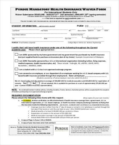 insurance waiver form sample