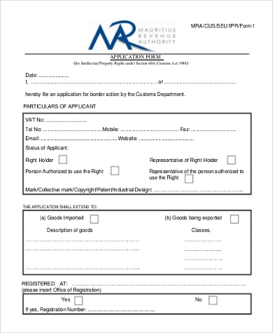 intellectual property rights application form