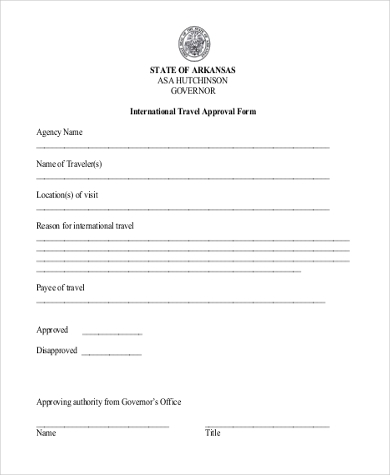 international travel approval form