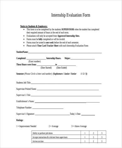 Internship-Evaluation-Form-in-PDF Sample Job Applicant Evaluation Form on quality assurance, hospital product, hr employee, job interview, annual supervisor, training workshop, for technology, for rooming patients, instructor course,