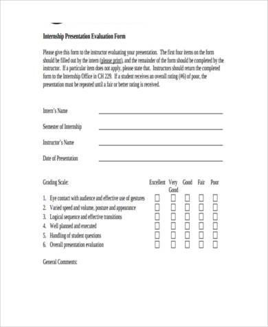 internship presentation evaluation form