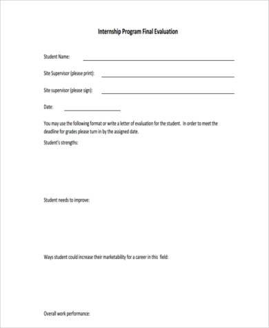 Sample Internship Evaluation Forms - 8+ Free Documents in PDF
