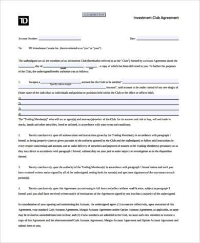 investment club agreement form in pdf
