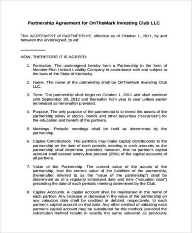 investment club partnership agreement form1