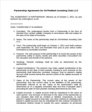 investment club partnership agreement form