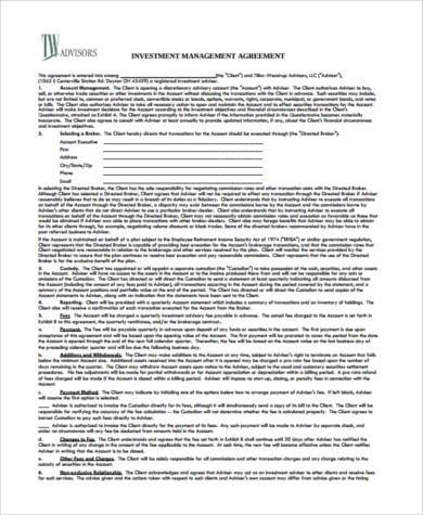Sample Investment Agreement Forms   Free Documents In Pdf