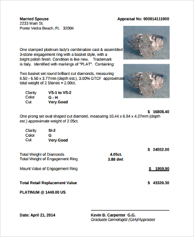 jewelry appraisal form pdf