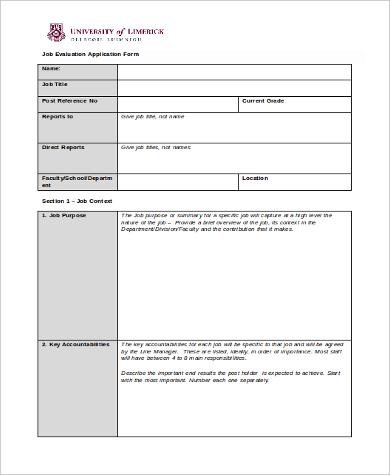 job evaluation application form
