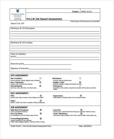 Sample Hazard Assessment Forms   Free Documents In Word Pdf