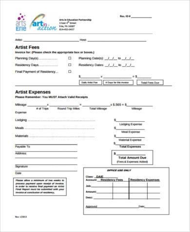 job invoice form in pdf