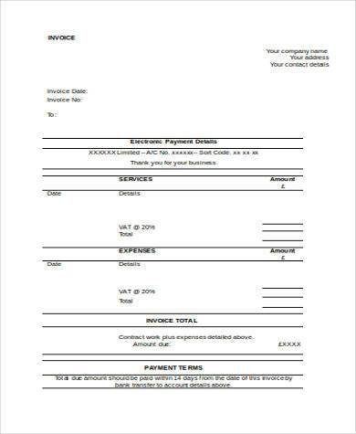 job invoice form in word format