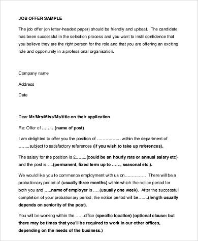 sample job offer letter example
