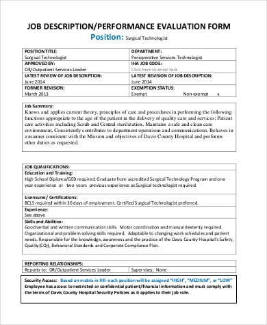 Job Performance Evaluation Form Samples   Free Documents In