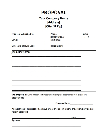 Job Proposal Sample   Free Documents In Word Pdf