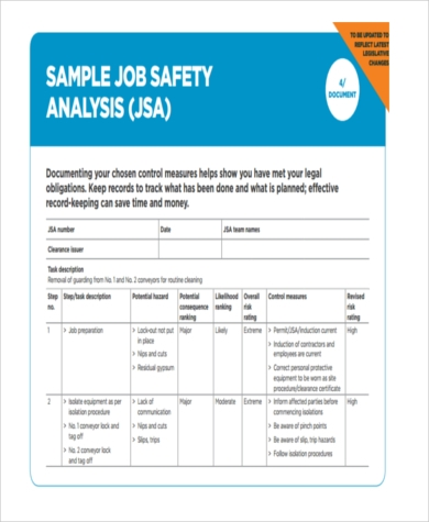 job safety analysis form pdf