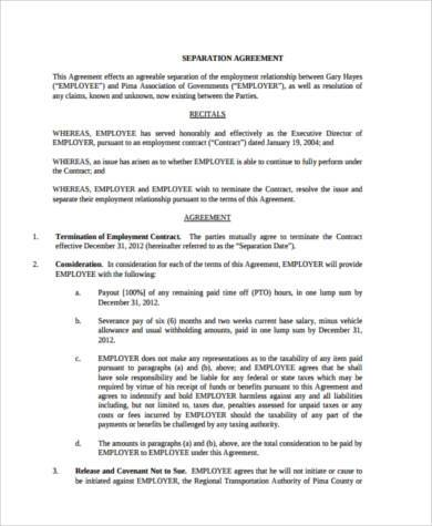 job separation agreement form
