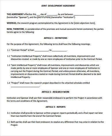 Sample Development Agreement Forms   Free Documents In Word Pdf