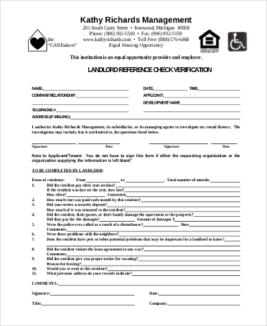landlord reference check verification