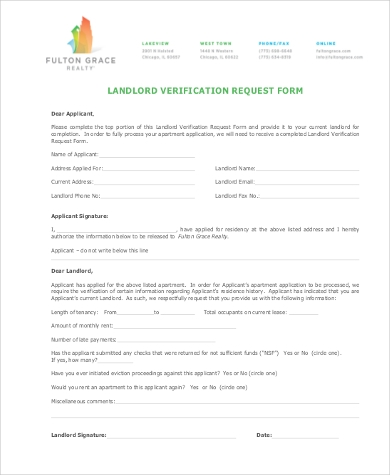 LANDLORD VERIFICATION REQUEST FORM