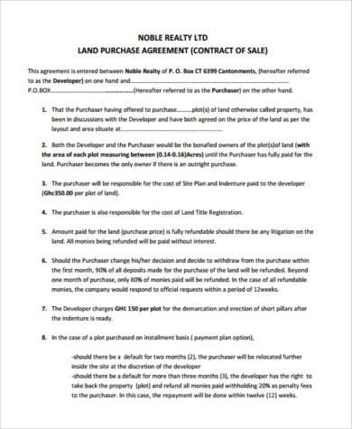 land purchase agreement example