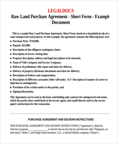 land purchase offer form sample
