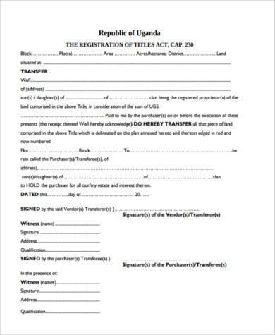 land title transfer form