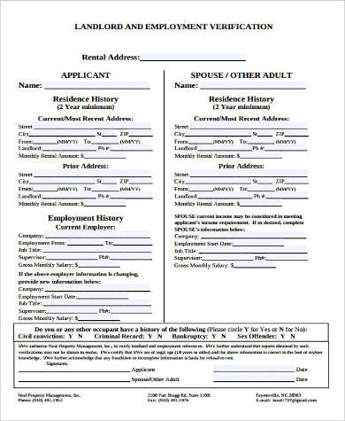 Landlord Employment Verification Form  Landlord Employment Verification Form