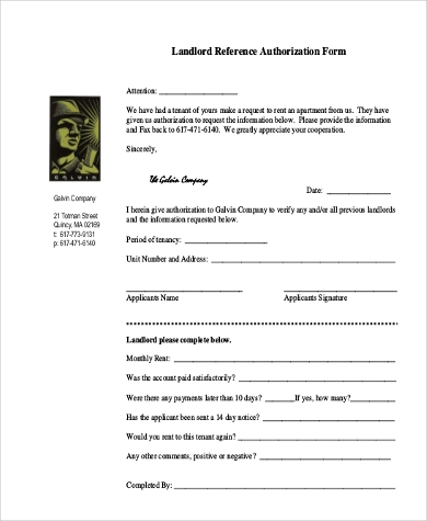 Landlord Reference Authorization Form