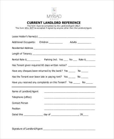 Rental Reference Form Basic Application Forms Tenant Information
