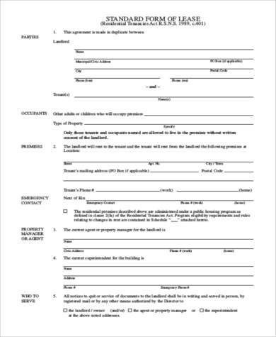 Tenant Lease Agreement Samples   Free Documents In Word Pdf