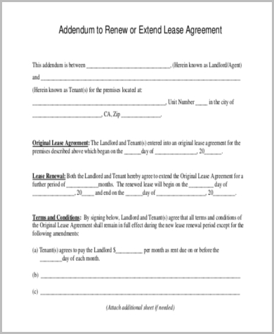 Lease Renewal Form Sample   Free Documents In Word Pdf