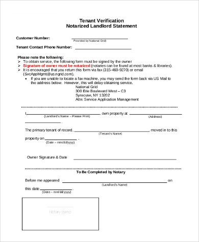 Sample Landlord Verification Form   Free Documents In Word Pdf