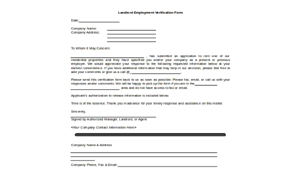Free 7 Sample Landlord Verification Forms In Word Pdf
