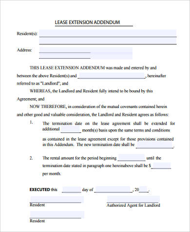 lease contract extension form